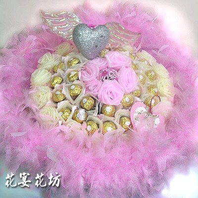 结帐区 花材 : 金莎33颗,手折花,灯(会发亮) 包装 : 进口包装纸,白色
